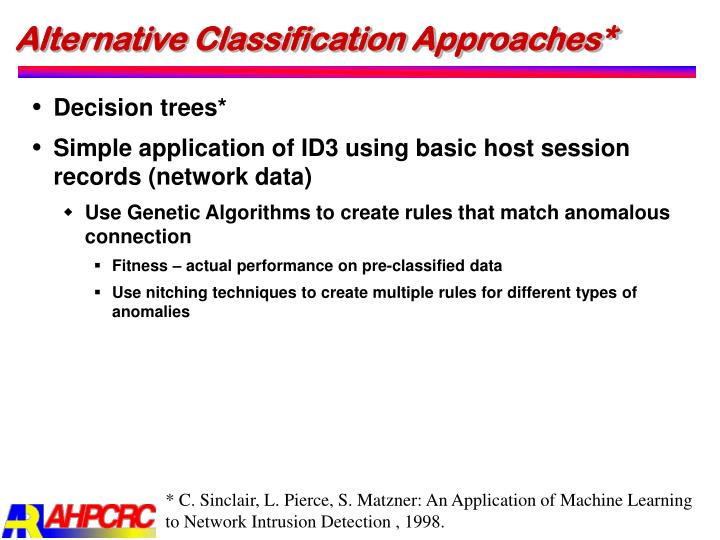 Alternative Classification Approaches*