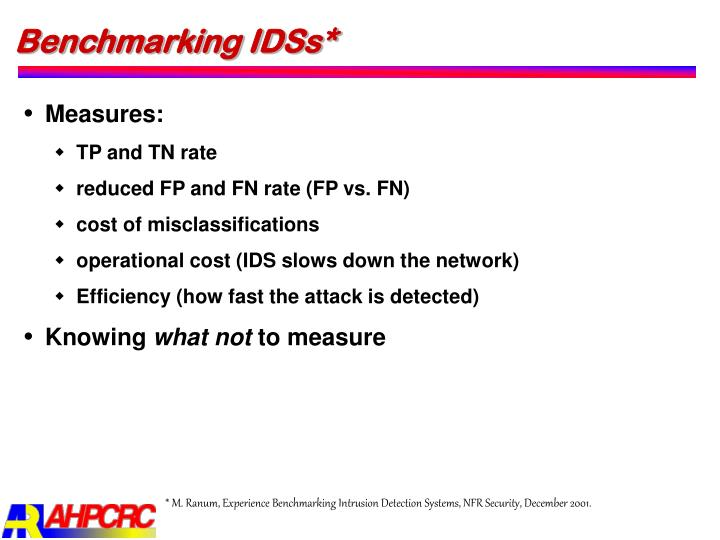 Benchmarking IDSs*