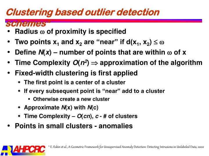 Clustering based outlier detection schemes*