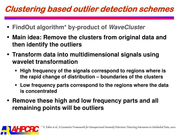 Clustering based outlier detection schemes