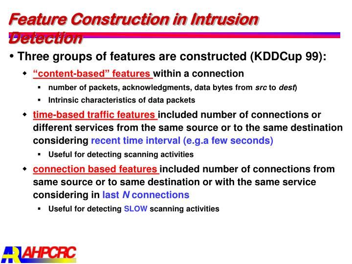 Feature Construction in Intrusion Detection