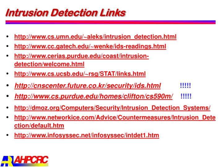 Intrusion Detection Links
