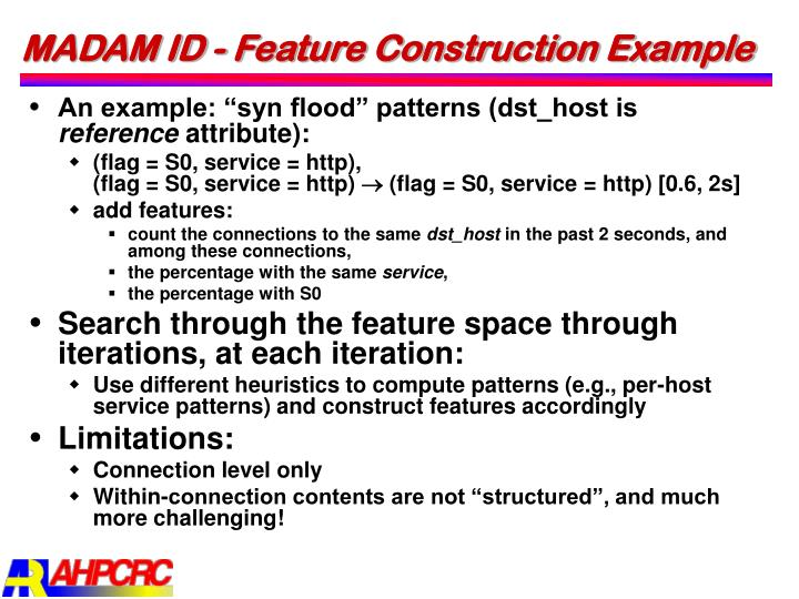 MADAM ID - Feature Construction Example