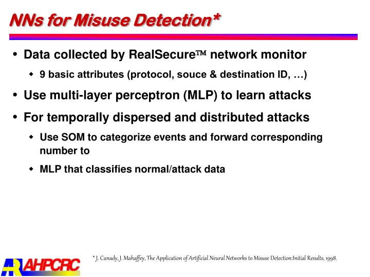 NNs for Misuse Detection*