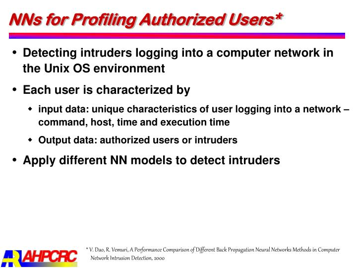 NNs for Profiling Authorized Users*
