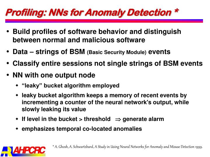 Profiling: NNs for Anomaly Detection *