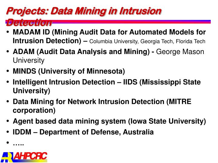 Projects: Data Mining in Intrusion Detection