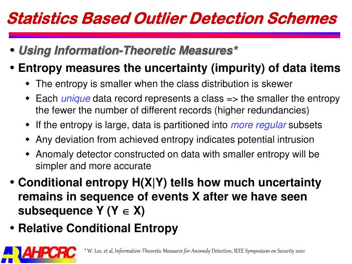 Statistics Based Outlier Detection Schemes