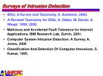 surveys of intrusion detection