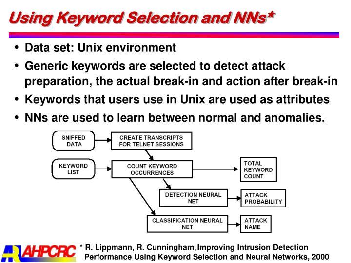 Using Keyword Selection and NNs*
