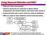 using keyword selection and nns