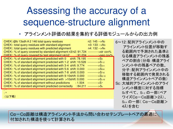 Assessing the accuracy of a sequence-structure alignment