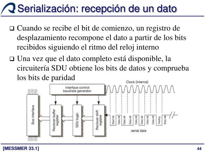 Serialización: recepción de un dato