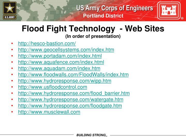 Flood Fight Technology  - Web Sites