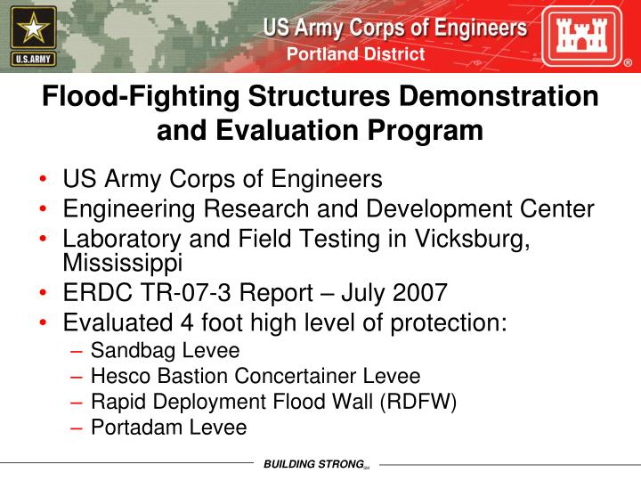 Flood-Fighting Structures Demonstration and Evaluation Program