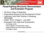 flood fighting structures demonstration and evaluation program