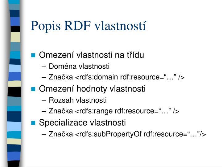 Popis RDF vlastností