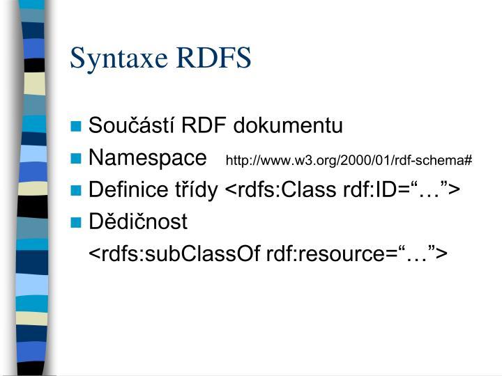 Syntaxe RDFS