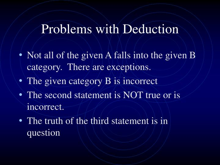 Problems with Deduction