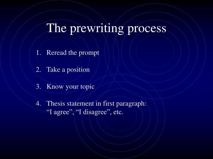 The prewriting process