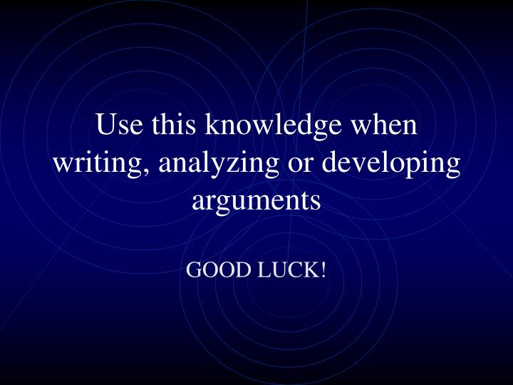 Use this knowledge when writing, analyzing or developing arguments