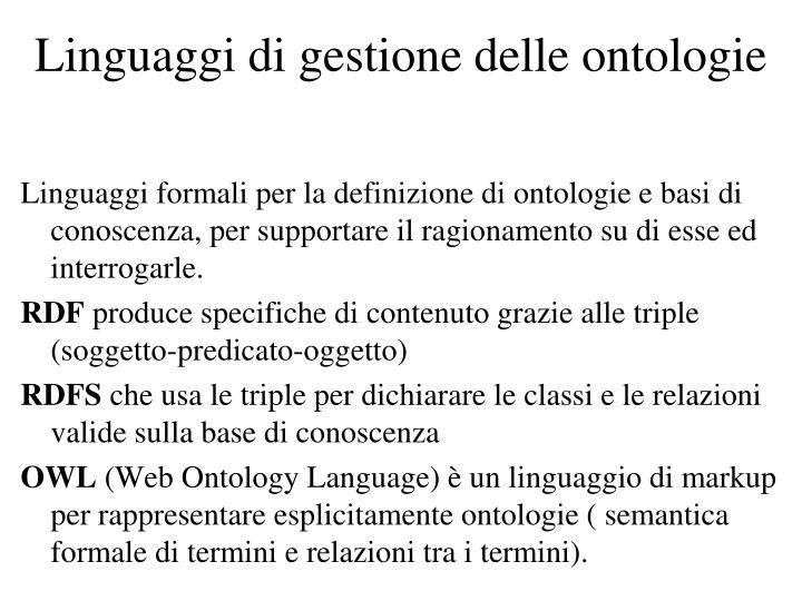 Linguaggi di gestione delle ontologie