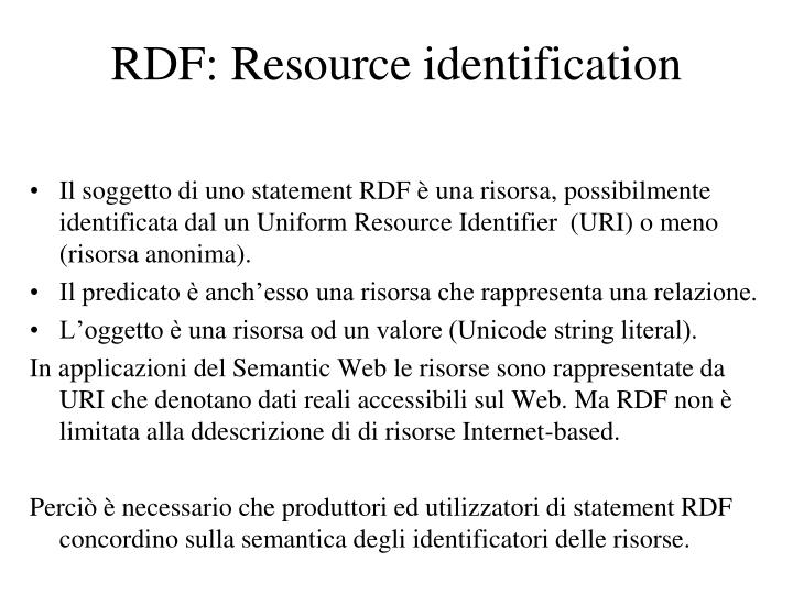 RDF: Resource identification