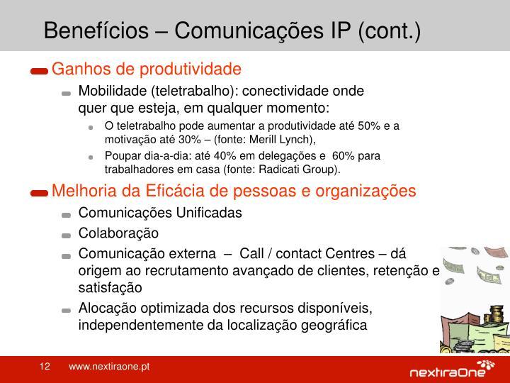 Benefícios – Comunicações IP (cont.)