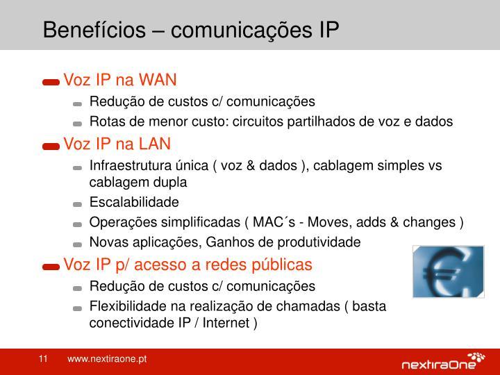 Benefícios – comunicações IP