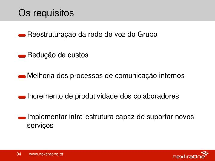 Os requisitos