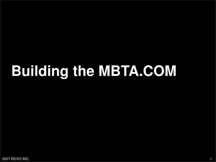 Building the MBTA.COM