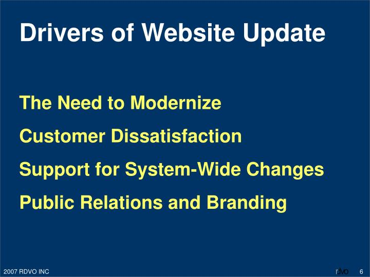Drivers of Website Update