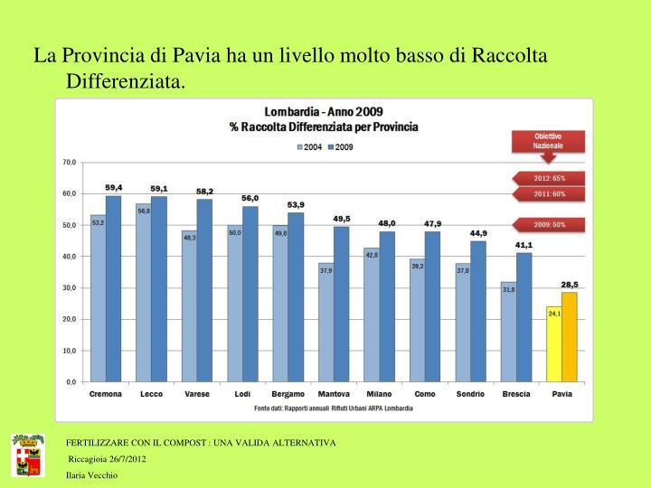 La Provincia di Pavia ha un livello molto basso di Raccolta  Differenziata.