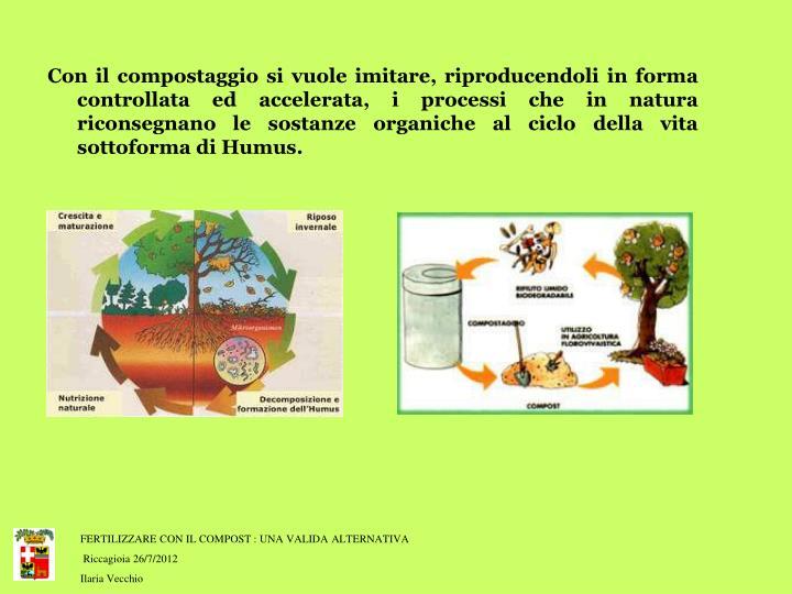 Con il compostaggio si vuole imitare, riproducendoli in forma controllata ed accelerata, i processi che in natura riconsegnano le sostanze organiche al ciclo della vita sottoforma di Humus.