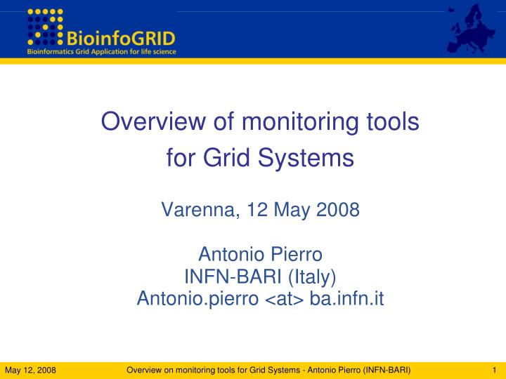 Overview of monitoring tools