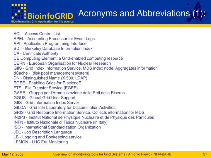 Acronyms and Abbreviations (1):