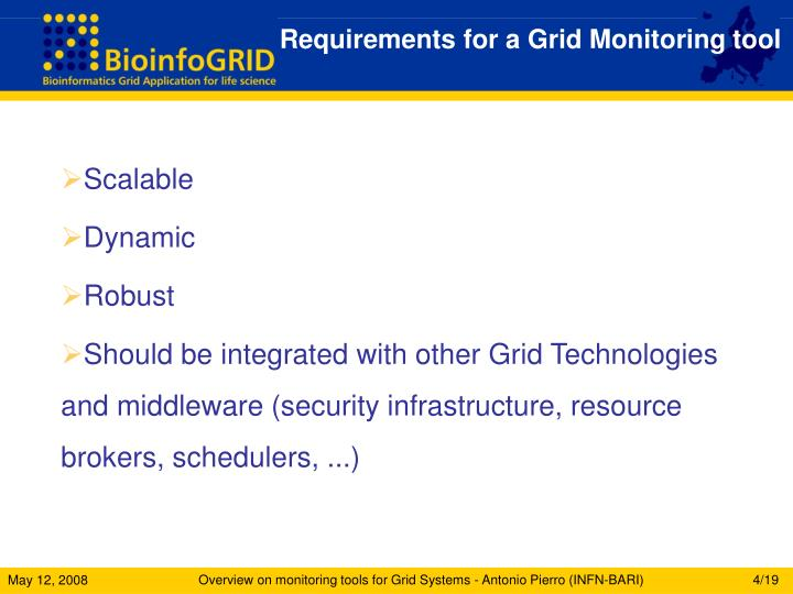 Requirements for a Grid Monitoring tool