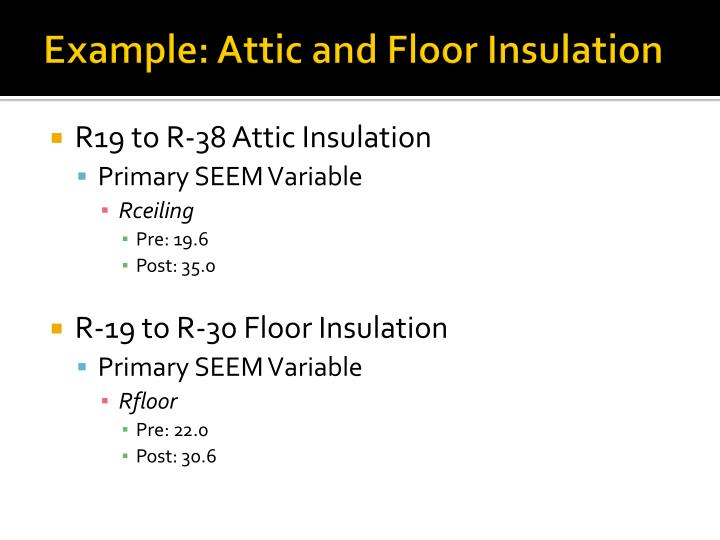 Example: Attic and Floor Insulation