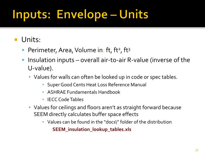 Inputs:  Envelope – Units