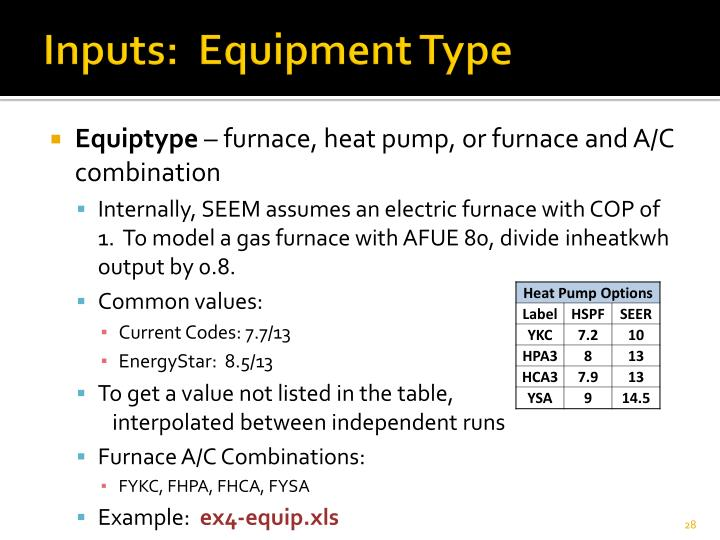 Inputs:  Equipment Type