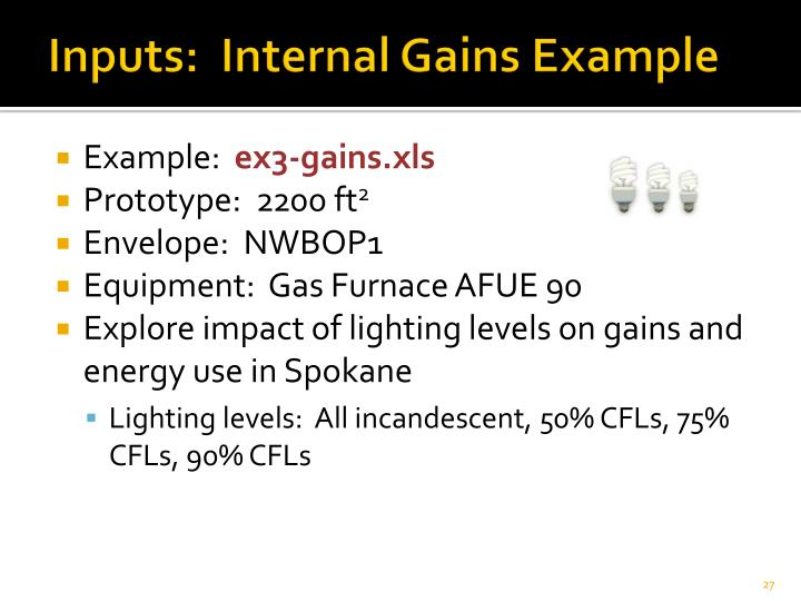 Inputs:  Internal Gains Example