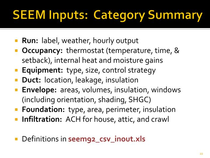 SEEM Inputs:  Category Summary