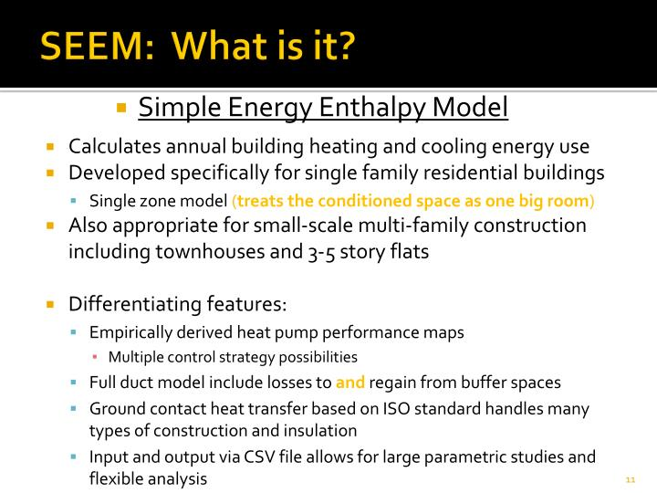 Simple Energy Enthalpy Model
