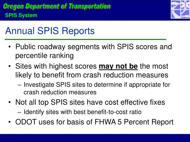Public roadway segments with SPIS scores and percentile ranking