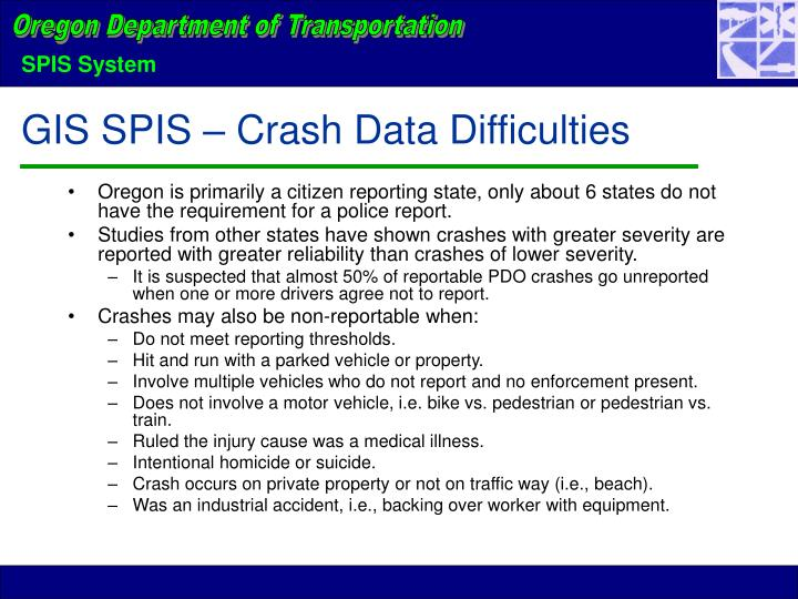 GIS SPIS – Crash Data Difficulties
