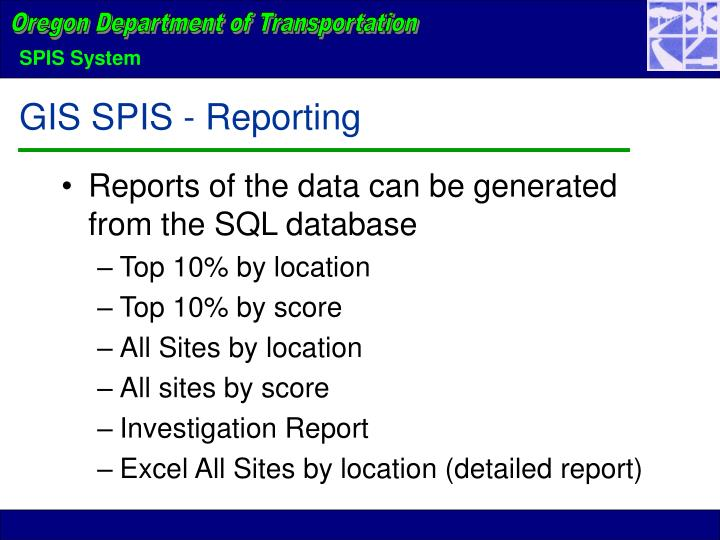 GIS SPIS - Reporting