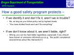 how a good safety program protects
