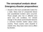 the conceptual analysis about emergency disaster preparedness