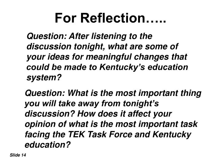 For Reflection…..