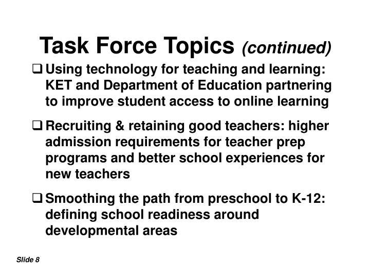 Task Force Topics
